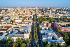 Luchtmening van Taras Shevchenko Boulevard in Kiev, de Oekraïne stock afbeeldingen