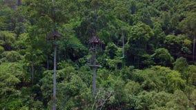 Luchtmening van Toeristen die op de Kabel van Zipline of van de Luifel berijden Adrenalineavontuur op Vakantie stock videobeelden
