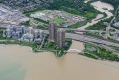 Luchtmening van Toronto van de binnenstad Stock Foto's