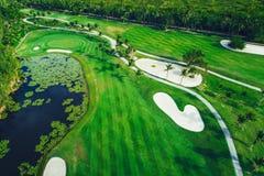 Luchtmening van tropische golfcursus, Dominicaanse Republiek, Punta C Royalty-vrije Stock Afbeelding