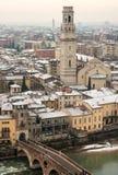 Luchtmening van Verona met Sneeuw - Italië Royalty-vrije Stock Fotografie