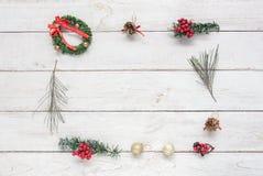 Luchtmening van vierkante decoratie Vrolijke Kerstmis & Gelukkig nieuw jaarconcept Royalty-vrije Stock Afbeeldingen