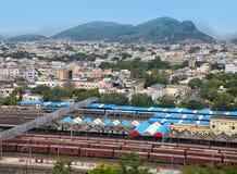 Luchtmening van Vijayawada-stad in India Stock Afbeeldingen