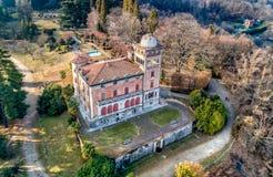 Luchtmening van Villa Toeplitz in Sant Ambrogio van Varese, Italië royalty-vrije stock fotografie