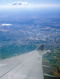 Luchtmening van vliegtuigenvenster Stock Foto's