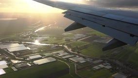 Luchtmening van vliegtuigvenster stock video