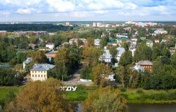 Luchtmening van Vologda en rivier, Vologda, Rusland Stock Foto's