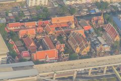 Luchtmening van Wat Laksi Temple, Bangkok, Thailand royalty-vrije stock afbeeldingen