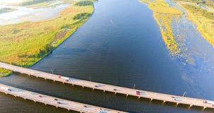 Luchtmening van 10 wegbrug tusen staten Stock Foto's