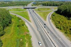 Luchtmening van weguitwisseling op Irbitskiy trakt Royalty-vrije Stock Fotografie
