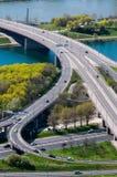 Luchtmening van Wenen, Oostenrijk dat van de Donau-Toren wordt gezien Stock Fotografie