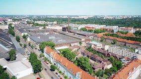 Luchtmening van woon en industriezones in Poznan, Polen royalty-vrije stock foto's