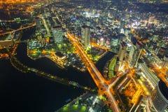 Luchtmening van Yokohama bij nacht Stock Foto