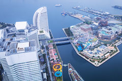Luchtmening van Yokohama bij schemer Stock Foto's