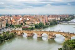 Luchtmening van Zaragoza Stock Foto's