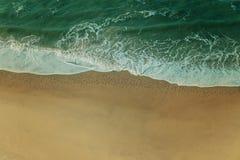 Luchtmening van Zeevogels, op Sandy Beach, met Golven die binnen Rolling Stock Afbeeldingen