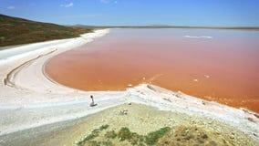 Luchtmening van zoute de verdampingsvijvers van het meerwater met roze en oranje planktonkleur stock footage