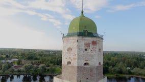 Luchtmening: Vyborgkasteel stock videobeelden
