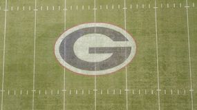 Luchtmeningen van Sanford Stadium stock foto's