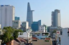 Luchtmeningscityscape van Saigon-stad Royalty-vrije Stock Afbeelding