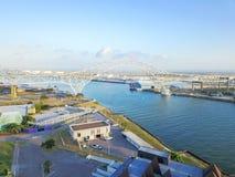 Luchtmeningscorpus Christi Harbor Bridge in de Haven van Corpus C stock fotografie