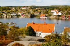 Luchtmeningsfjord Kragero, Portor in Noorwegen Stock Foto