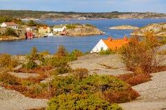 Luchtmeningsfjord Kragero, Portor in Noorwegen Stock Afbeelding