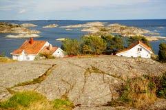 Luchtmeningsfjord Kragero, Portor in Noorwegen Royalty-vrije Stock Afbeelding