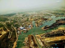 Luchtmeningshaven vishakapatinam Vizag birdview royalty-vrije stock afbeelding