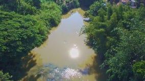 Luchtmeningsrivier onder Installaties met Zonbezinning in Water stock footage