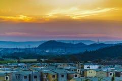 Luchtmeningsscène van de huizen van de outskirtflat in Guayaquil, E Royalty-vrije Stock Foto's