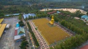 luchtmeningszonsondergang bij de gouden standbeelden van Boedha Royalty-vrije Stock Fotografie