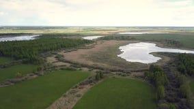 Luchtmotie over landschap met meren onder bossen stock footage