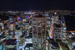 Luchtnachtmening van Sydney Royalty-vrije Stock Fotografie