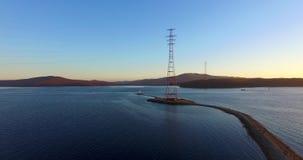 Luchtoverzicht van de Baai van Vladivostok stock videobeelden