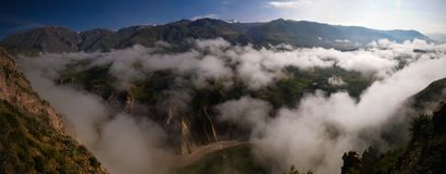 Luchtpanorama aan Colca-canion, Chivay, Arequipa, Peru stock fotografie