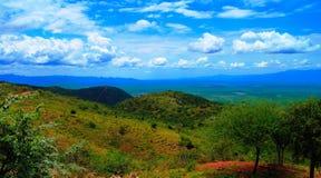 Luchtpanorama aan de vallei van Stephanie Wildlife Sanctuary en van weito, Karat Konso, Ethiopië royalty-vrije stock afbeelding