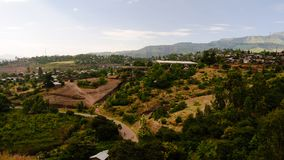 Luchtpanorama aan Lalibela Rick-gehouwen kerken, Ethiopië stock afbeelding
