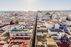 Luchtpanorama van Cadiz Royalty-vrije Stock Afbeeldingen