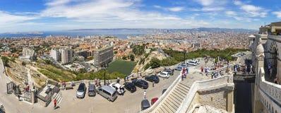 Luchtpanorama van de stad van Marseille, Frankrijk Stock Fotografie