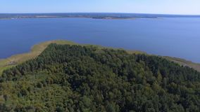 Luchtpanorama van Forest On Island On Lake Seliger, Rusland stock videobeelden