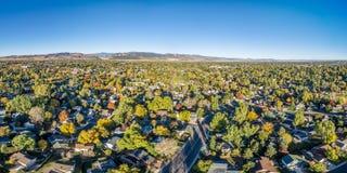 Luchtpanorama van Fort Collins royalty-vrije stock afbeeldingen