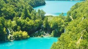Luchtpanorama van Plitvice-Meren, Nationaal Park in Kroati?, zonnige dag stock foto