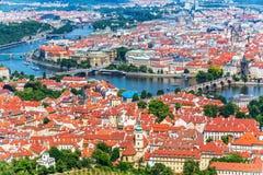 Luchtpanorama van Praag, Tsjechische Republiek Royalty-vrije Stock Foto's