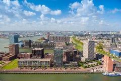 Luchtpanorama van Rotterdam, Nederland, Holland Stock Foto's