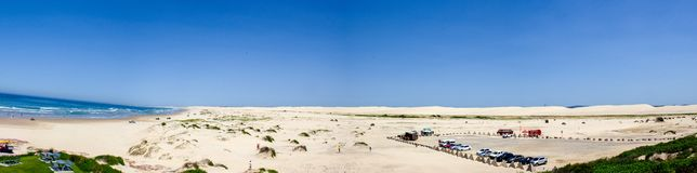 Luchtpanorama van Stockton-strand bij middag Anna Bay, Nieuw Zuid-Wales, Australi? royalty-vrije stock foto's