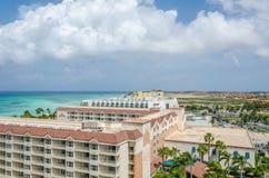 Luchtpanoramamening van hotels die Aruba inbouwen Royalty-vrije Stock Fotografie