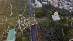 Luchtparade van een park in Israël tijdens de zomer stock videobeelden
