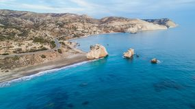 Luchtpetra tou Romiou, Paphos, Cyprus stock afbeeldingen