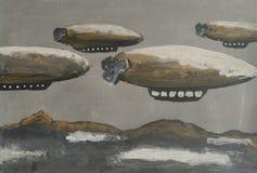 Luchtschepen die boven de grond, abstracte illustratie vliegen royalty-vrije illustratie